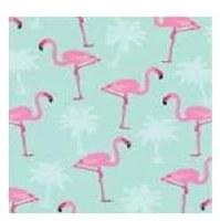 "5"" Square Flamingos on Aqua Beverage Napkins"