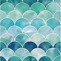 "5"" Square Blue and Green Scales Beverage Napkins"
