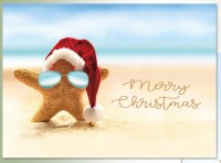 """Box of 18 5"""" x 7"""" Starfish with Sunglasses Christmas Cards"""