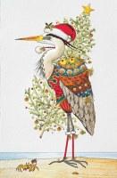 "Box of 16 9"" x 5"" Heron With Christmas Tree Holiday Cards"