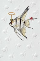 "Box of 16 9"" x 5"" Halo Angel Fish Christmas Cards"