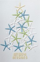 "Box of 16 9"" x 5"" Starfish Tree Warm Wishes Christmas Cards"