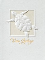 "Box of 10 6"" x 4"" Embossed Turtle Warm Greetings Christmas Cards"