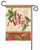 "18"" x 13"" Mini Be Merry Holly Berry Garden Flag"