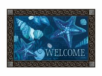 "18"" x 30"" Dark Blue Seashells Welcome Doormat"
