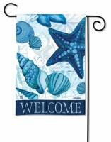 "18"" x 13"" Mini Dark Blue Seashells Welcome Garden Flag"
