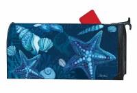 "7"" x 19"" Dark Blue Seashells Mailbox Cover"
