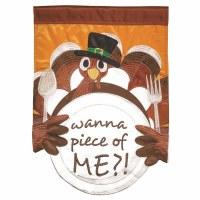 """42"""" x 29"""" Thanksgiving Turkey Contoured Bottem Garden Flag"""