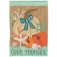 "42"" x 29"" Coastal Thanksgiving Pumpkins and Shells Garden Flag"