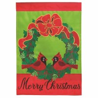 "42"" x 29"" Cardinal Wreath Merry Christmas Garden Flag"
