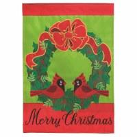"""18"""" x 13"""" Mini Cardinal Wreath Merry Christmas Garden Flag"""