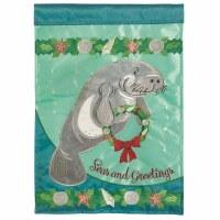 "18"" x 13"" Mini Seas and Greeting Manatee Wreath Garden Flag"