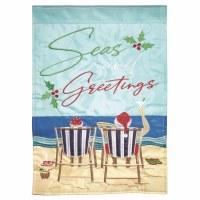 """42"""" x 29"""" Seas and Greetings Beach Couple Garden Flag"""