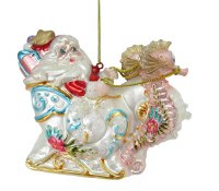 Santa Riding Shell Sleigh With Seahorses Glass Ornament
