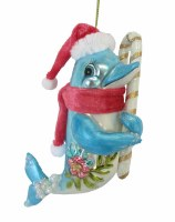 Dolphin With Candy Cane Glass Ornament