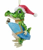 Gator Carrying a Surfboard Glass Ornament