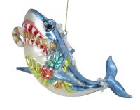 Shark With Candy Cane Glass Ornament