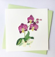 """6"""" Square Quilling Purple Orchid Card"""