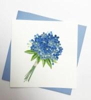 "6"" Square Quilling Blue Flower Bouquet Card"