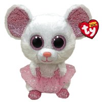 """6"""" TY Beanie Boo Nina the White and Pink Mouse"""