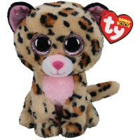 """6"""" TY Beanie Boo Livvie the Brown and Pink Leopard"""