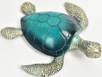 """8"""" Navy and Green Polyresin Sea Turtle"""
