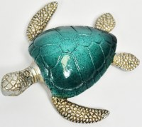 """6"""" Navy and Green Polyresin Sea Turtle"""