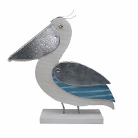"""12"""" White and Blue Wood Pelican on Base"""