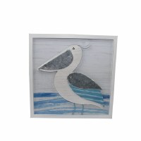 """14"""" Square Blue and White Wood Framed 3D Pelican Wall Plaque"""