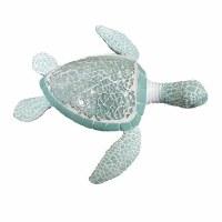 """7"""" Light Turquoise Polyresin Mosaic Sea Turtle Figurine"""