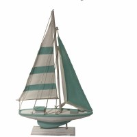 """20"""" Light Turquoise and White Striped Sailboat on Stand"""