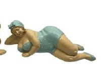"""14"""" Light Turquoise Dotted Chubby Beach Lady Laying Down"""