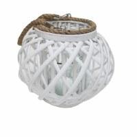 """10"""" Round White Rattan Candle Lantern"""