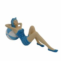 """12"""" Two-Toned Blue Vintage Beach Lady With Beach Ball"""
