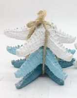 """Set of 3 5"""" Blue, Teal and White Polyresin Starfish"""