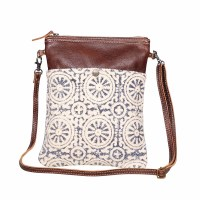 """12"""" Blue and White Circle Pattern With Brown Canvas and Leather Ruggy Small Crossbody Bag"""