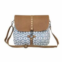 """14"""" Blue and White With Light Brown Canvas and Leather Trim Balance Shoulder Bag"""