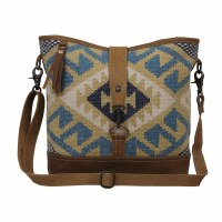 """15"""" Blue and Khaki With Light Brown Canvas and Leather Ocean Roar Shoulder Bag"""