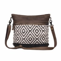 """15"""" Brown and White Diamond With Brown Canvas and Leather Patterned Shoulder Bag"""
