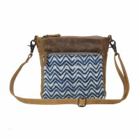 """9"""" Blue and White Waves and Brown Canvas and Leather Tiny Twinkle Crossbody Bag"""