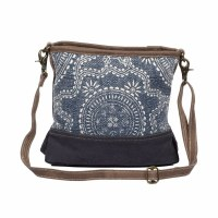 """13"""" Navy and Brown Canvas and Leather Kilim Shoulder Bag"""