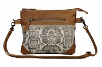 """9"""" Brown and White Printed Canvas and Leather With Light Brown Leather Nifty Small Crossbody Bag"""