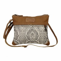 """11"""" Brown and White Printed Canvas and Leather With Light Brown Leather Floral Flow Crossbody Bag"""