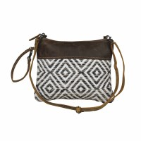 """12"""" Brown and White Diamond Pattern With Brown Canvas and Leather Sine Qua Non Crossbody Bag"""