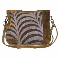 """15"""" Black and White Zebra Print With Light Brown Canvas and Leather Striped Shoulder Bag"""