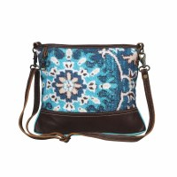 """14"""" Aqua and Blue With Brown Canvas and Leather Swashy Swag Small Crossbody Bag"""