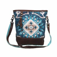 """14"""" Blue, Aqua, and Tan With Brown Canvas and Leather Spirited Shoulder Bag"""
