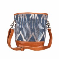"""14"""" Blue and White With Caramel Canvas and Leather Mist Shoulder Bag"""