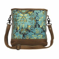 """12"""" Aqua, Navy and Yellow Trail Canvas and Leather Shoulder Bag"""