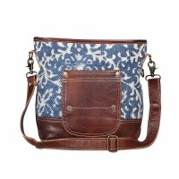 """16"""" Blue and White With Brown Leather Bliss Canvas and Leather Shoulder Bag"""